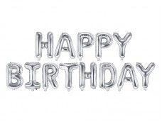 Folijas baloni 35cm - HAPPY BIRTHDAY, sudraba, tikai gaisam