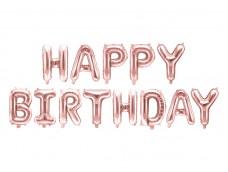 Folijas baloni 35cm - HAPPY BIRTHDAY, zelta, rozā, tikai gaisam