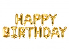 Folijas baloni 35cm - HAPPY BIRTHDAY, zelta, tikai gaisam
