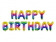 Folijas baloni 35cm - HAPPY BIRTHDAY, krāsaini, tikai gaisam