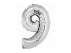 Folijas balons 76cm XL - cipars 9, SMART, sudraba
