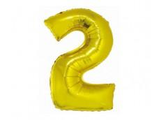 Folijas balons 76cm XL - cipars 2, SMART, zelta