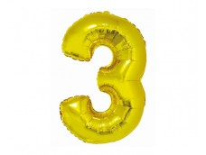 Folijas balons 76cm XL - cipars 3, SMART, zelta