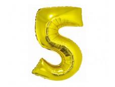 Folijas balons 76cm XL - cipars 5, SMART, zelta