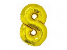 Folijas balons 76cm XL - cipars 8, SMART, zelta
