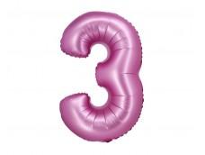 Folijas balons 76cm XL - cipars 3, rozā, satīna