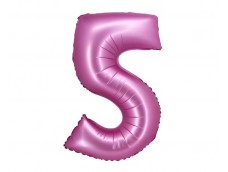 Folijas balons 76cm XL - cipars 5, rozā, satīna
