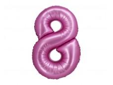 Folijas balons 76cm XL - cipars 8, rozā, satīna