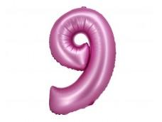 Folijas balons 76cm XL - cipars 9, rozā, satīna