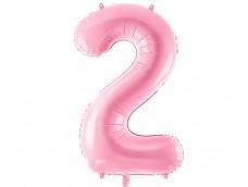 Folijas balons 86cm XL - cipars 2, rozā, gaiši