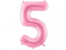 Folijas balons 86cm XL - cipars 5, rozā, gaiši