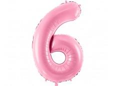 Folijas balons 86cm XL - cipars 6, rozā, gaiši