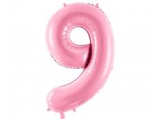 Folijas balons 86cm XL - cipars 9, rozā, gaiši