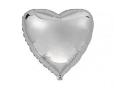 Folijas balons sirds, sudraba, 46cm, Flexmetal