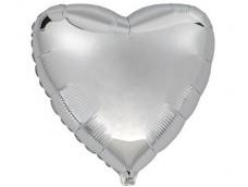 Folijas balons sirds, sudraba, Flexmetal, 81cm, Jumbo