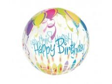 "Folijas balons 46cm - bumba, Crystal ""Happy Birthday"""