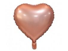 Folijas balons sirds, zelta, rozā, matēta, 46cm