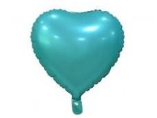Folijas balons sirds, zaļa, mint/tirkīza, matēta, 46cm
