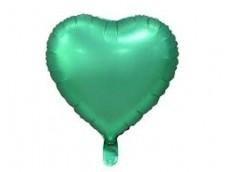 Folijas balons sirds, zaļa, matēta, 46cm