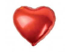 Folijas balons sirds, sarkana, spīdīga, 46cm