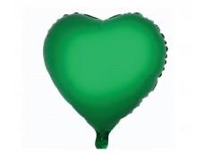 Folijas balons sirds, zaļa, spīdīga, 46cm