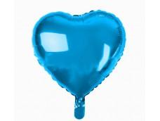 Folijas balons sirds, zila, spīdīga, 46cm