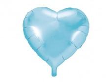 Folijas balons sirds, zila, gaiši, spīdīga, 45cm