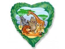 """Folijas balons 46cm, sirds, """"Džungļu dzīvnieki"""""""