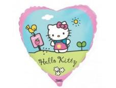 "Folijas balons 46cm, sirds, ""Hello Kitty in the garden"""