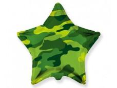 Folijas balons zvaigzne, zaļa, kamuflāža, 48cm, Flexmetal