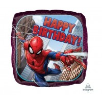 "Folijas balons 43cm, kvadrāts, ""Happy Birthday, Spiderman"""