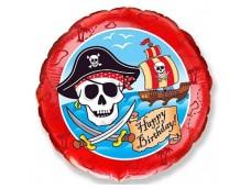 """Folijas balons 48cm, aplis, """"Pirāti - Happy Birthday"""""""
