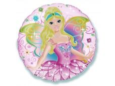 """Folijas balons 48cm, aplis, """"Feja, rozā"""""""