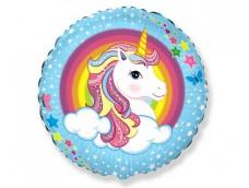 """Folijas balons 48cm, aplis, """"Vienradzis - Unicorn"""""""