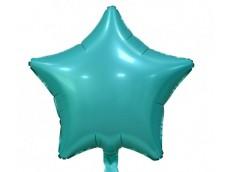 Folijas balons zvaigzne, zila, tirkīza, matēta, 48cm