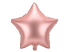 Folijas balons zvaigzne, zelta, rozā, satīna, 47cm