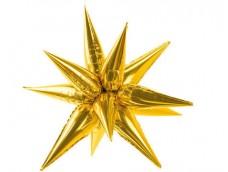 Folijas balons zvaigzne, zelta, 3D, 70cm