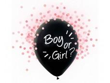 "Baloni ""Boy or Girl"", 4 gab. meitene, gaiši rozā konfeti, 29cm"
