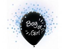 "Baloni ""Boy or Girl"", 4 gab. puika, gaiši zili konfeti, 29cm"