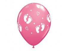 """Baloni mazuļiem """"Pēdiņas un sirsniņas rozā"""", Qualatex, 29cm"""