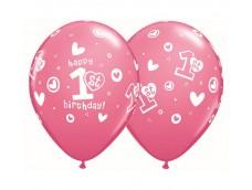 Baloni mazuļiem - 1. gadiņš, rozā, QUALATEX, 29cm