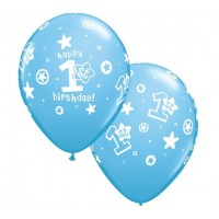 Baloni mazuļiem - 1. gadiņš, zili, QUALATEX, 29cm