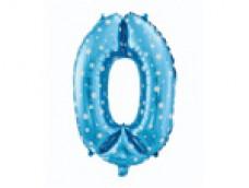 Folijas balons 64cm L - cipars 0, zils ar zvaigznītēm, tikai gaisam