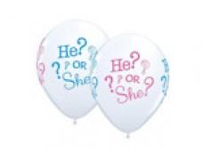 """Baloni """"He or She"""" viņš vai viņa, Qualatex, 29cm"""