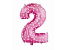 Folijas balons 64cm L - cipars 2, rozā ar sirsniņām, tikai gaisam