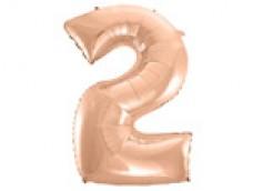 Folijas balons 96cm XXL - cipars 2, rozā zelta