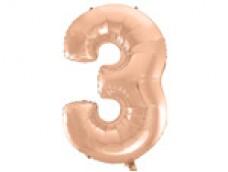 Folijas balons 96cm XXL - cipars 3, rozā zelta