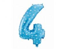 Folijas balons 64cm L - cipars 4, zils ar zvaigznītēm, tikai gaisam