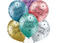 """Baloni """"Happy Birthday!"""" - priecīgu dzimšanas dienu, hroma/glossy Belbal, 29cm"""