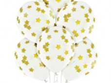 Baloni Konfeti, zelta, zvaigznes, BelBal, 29cm